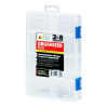 2-8 Compartment Clear Storage Box with Blue Latch