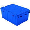 "Blue Akro-Mils® Attached Lid Container - 21-1/2"" L x 15"" W x 9"" H OD"