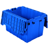 "Blue Akro-Mils® Attached Lid Container - 21-1/2"" L x 15"" W x 12-1/2"" H OD"