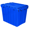 "Blue Akro-Mils® Attached Lid Container - 21-1/2"" L x 15"" W x 17"" H OD"