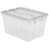 "21-1/2"" L x 15"" W x 12-1/2"" H OD Clear Akro-Mils® Attached Lid Container"