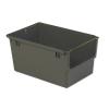 """23.5"""" L  x 15.6"""" W x 12"""" Hgt. Gray Heavy Duty Stacking & Nesting Shelf Bin with Bail"""