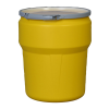 10 Gallon Yellow Open Head Poly Drum with Metal Lever-Lock Ring