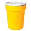 40 Gallon Yellow Open Head Poly Drum with Plastic Lever-Lock Ring