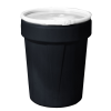 40 Gallon Black Open Head Poly Drum with Plastic Lever-Lock Ring