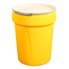 40 Gallon Yellow Open Head Poly Drum with Metal Lever-Lock Ring