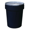 40 Gallon Black Open Head Poly Drum with Metal Lever-Lock Ring