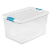 64 qt. Sterilite® Latch Box with White Lid & Blue Handles