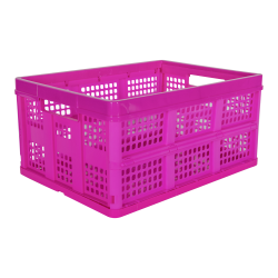 Hot Pink Vented Folding Crate - 19