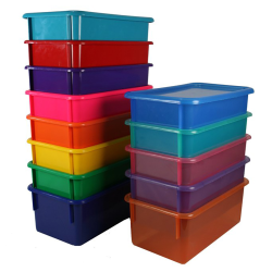 "Black Half Stowaway® Box with Lid - 6-3/5"" L x 8"" W x 5-1/2"" H"