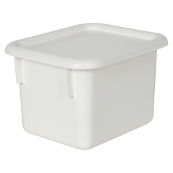 "White Half Stowaway® Box with Lid - 6-3/5"" L x 8"" W x 5-1/2"" Hgt."