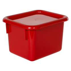 "Red Half Stowaway® Box with Lid - 6-3/5"" L x 8"" W x 5-1/2"" H"