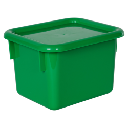 "Green Half Stowaway® Box with Lid - 6-3/5"" L x 8"" W x 5-1/2"" H"