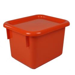 "Orange Half Stowaway® Box with Lid - 6-3/5"" L x 8"" W x 5-1/2"" Hgt."