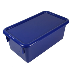"Blue Stowaway® Box with Lid - 8"" L X 13-1/2"" W X 5-1/2"" Hgt."