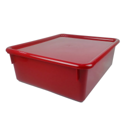 "Red Double Stowaway® Box with Lid - 13-1/2"" L x 16"" W x 5-1/2"" Hgt."