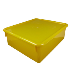 "Yellow Double Stowaway® Box with Lid - 13-1/2"" L x 16"" W x 5-1/2"" H"