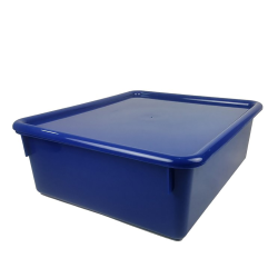 "Blue Double Stowaway® Box with Lid - 13-1/2"" L x 16"" W x 5-1/2"" Hgt."