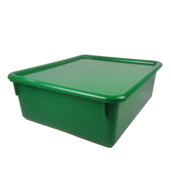 "Green Double Stowaway® Box with Lid - 13-1/2"" L x 16"" W x 5-1/2"" Hgt."