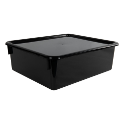"Black Double Stowaway® Box with Lid - 13-1/2"" L x 16"" W x 5-1/2"" Hgt."