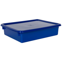 "Blue Stowaway® Letter Box with Lid - 13-1/2"" L x 10-1/2"" W x 3"" H"