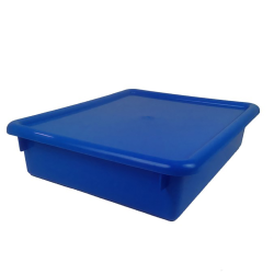 "Blue Stowaway® Letter Box with Lid - 13-1/2"" L x 10-1/2"" W x 6"" H"