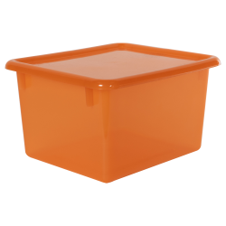 "Tangerine Small Stowaway® Shelf Box with Lid - 10-1/2"" L x 9"" W x 6"" H"