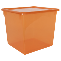 "Tangerine Large Stowaway® Shelf Box with Lid - 12"" L x 11"" W x 10-1/4"" H"