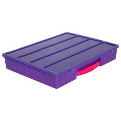 Translucent Purple Large Organizer Case & Lid with Pink Handle - 13-1/4
