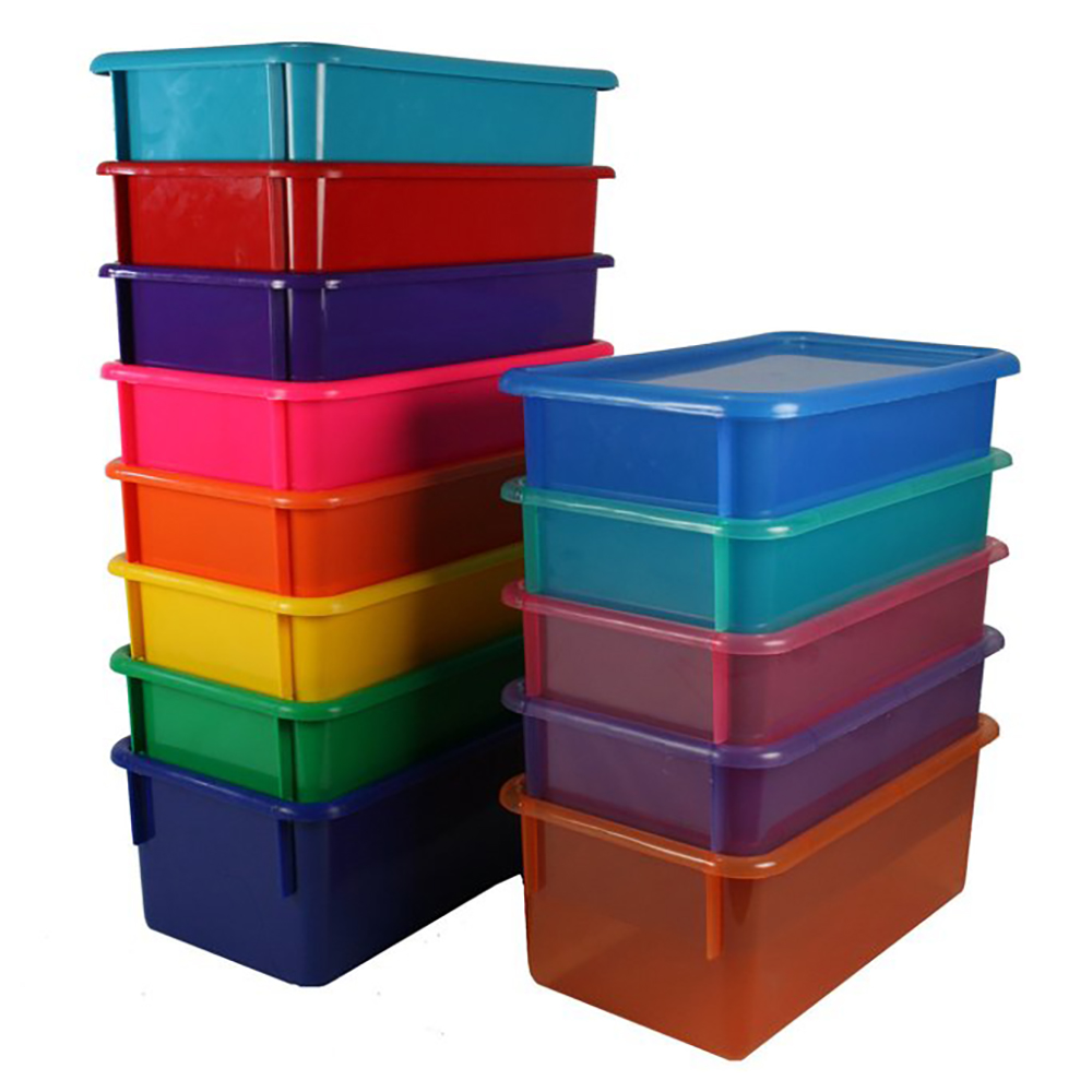 "Lime Stowaway® Scrap Box with Lid - 15"" L x 15"" W x 6"" H"