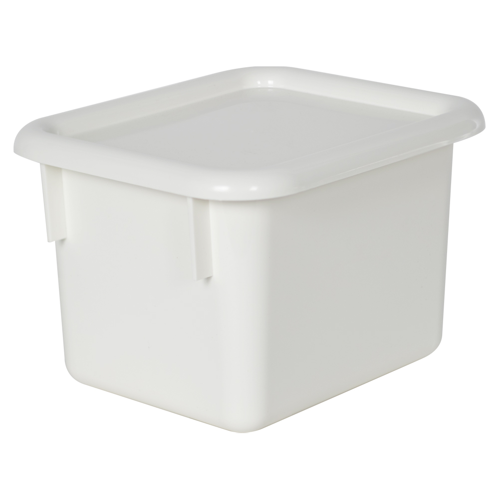 "White Half Stowaway® Box with Lid - 6-3/5"" L x 8"" W x 5-1/2"" H"