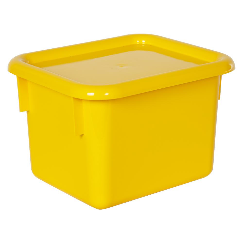 "Yellow Half Stowaway® Box with Lid - 6-3/5"" L x 8"" W x 5-1/2"" Hgt."