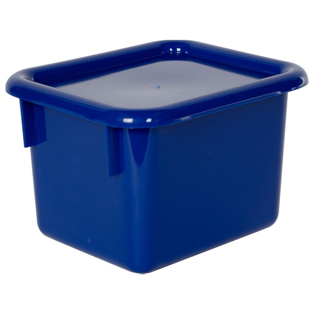 """Blue Half Stowaway® Box with Lid - 6-3/5"""" L x 8"""" W x 5-1/2"""" Hgt."""