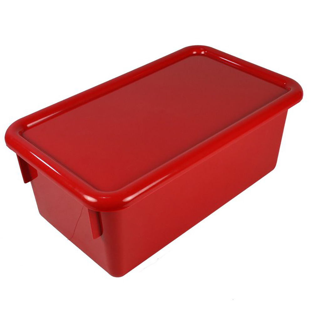 """Red Stowaway® Box with Lid - 8"""" L X 13-1/2"""" W X 5-1/2"""" Hgt."""