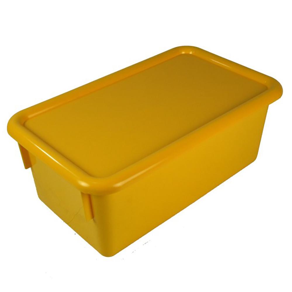 "Yellow Stowaway® Box with Lid - 8"" L X 13-1/2"" W X 5-1/2"" H"