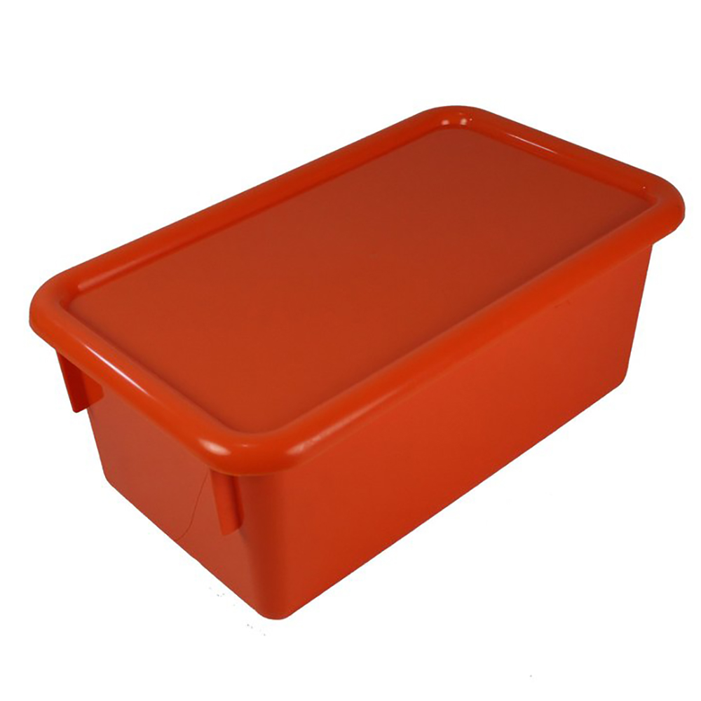 "Orange Stowaway® Box with Lid - 8"" L X 13-1/2"" W X 5-1/2"" H"