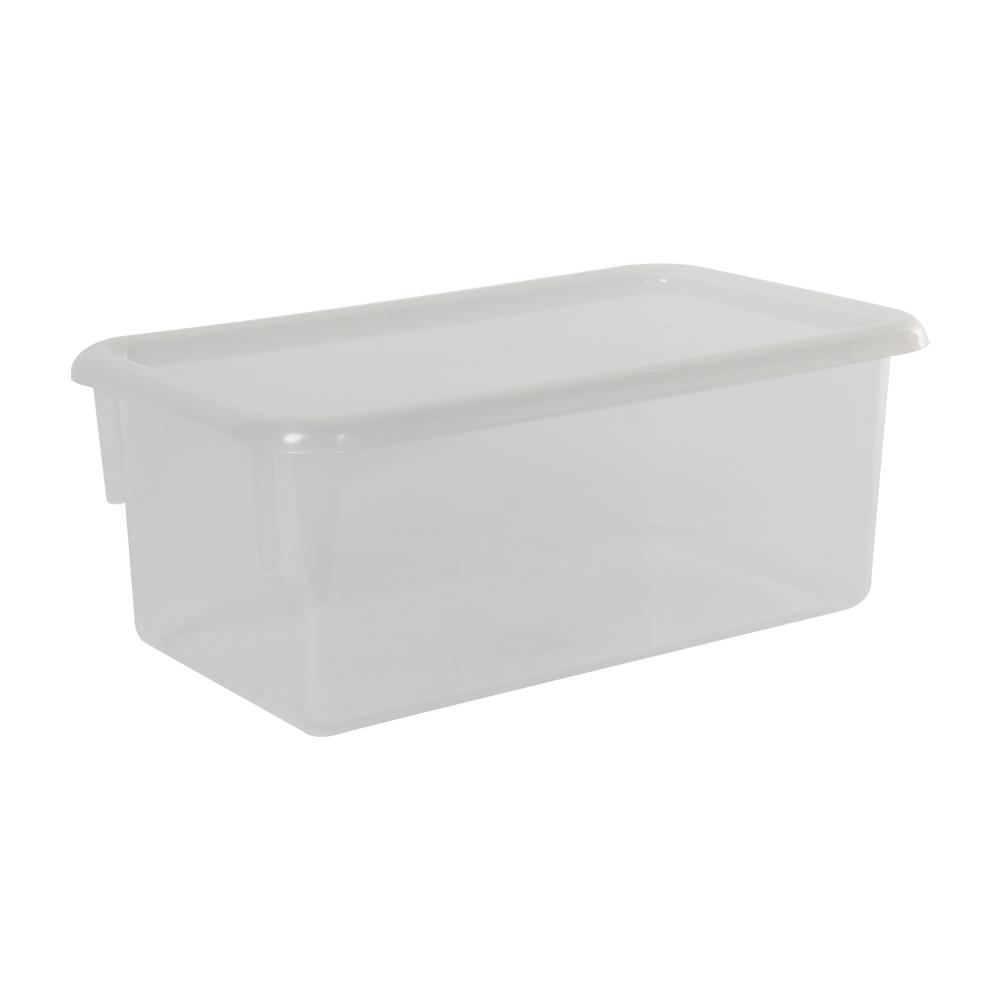 "Clear Stowaway® Box with Lid - 8"" L X 13-1/2"" W X 5-1/2"" Hgt."