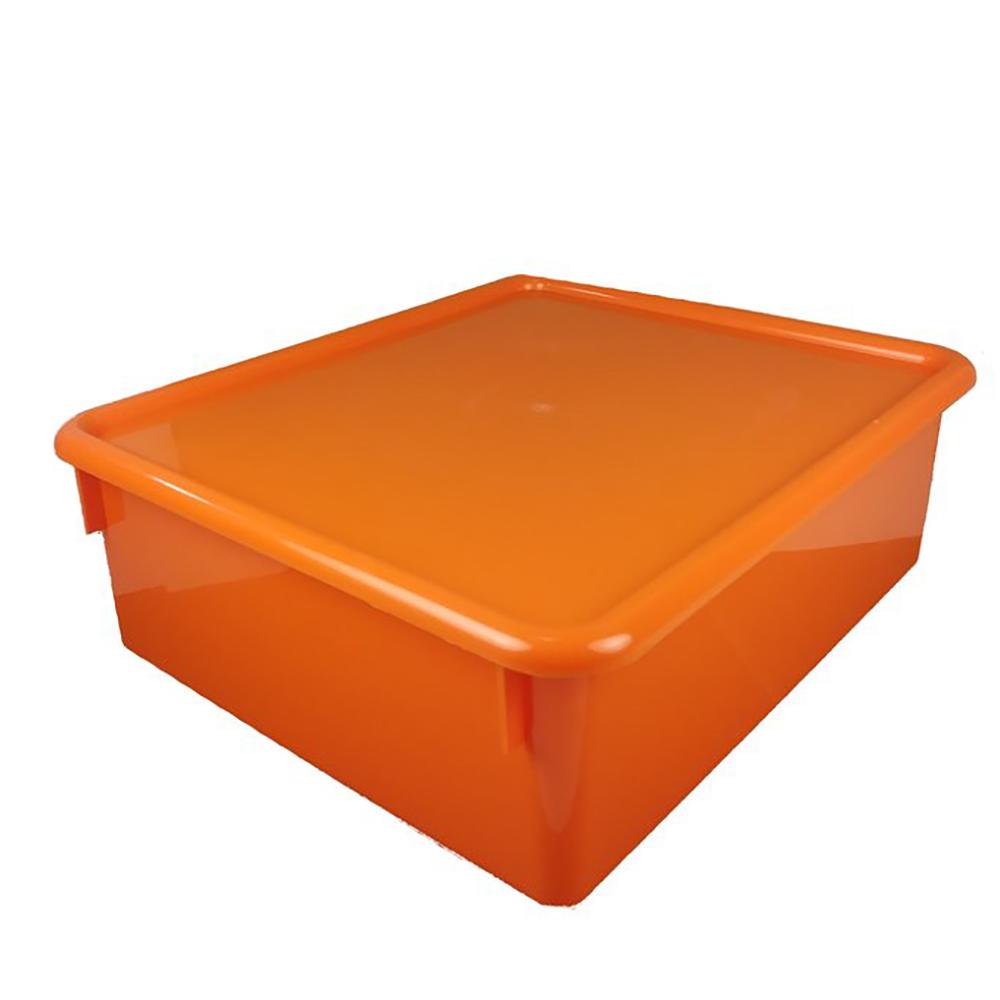 "Orange Double Stowaway® Box with Lid - 13-1/2"" L x 16"" W x 5-1/2"" Hgt."