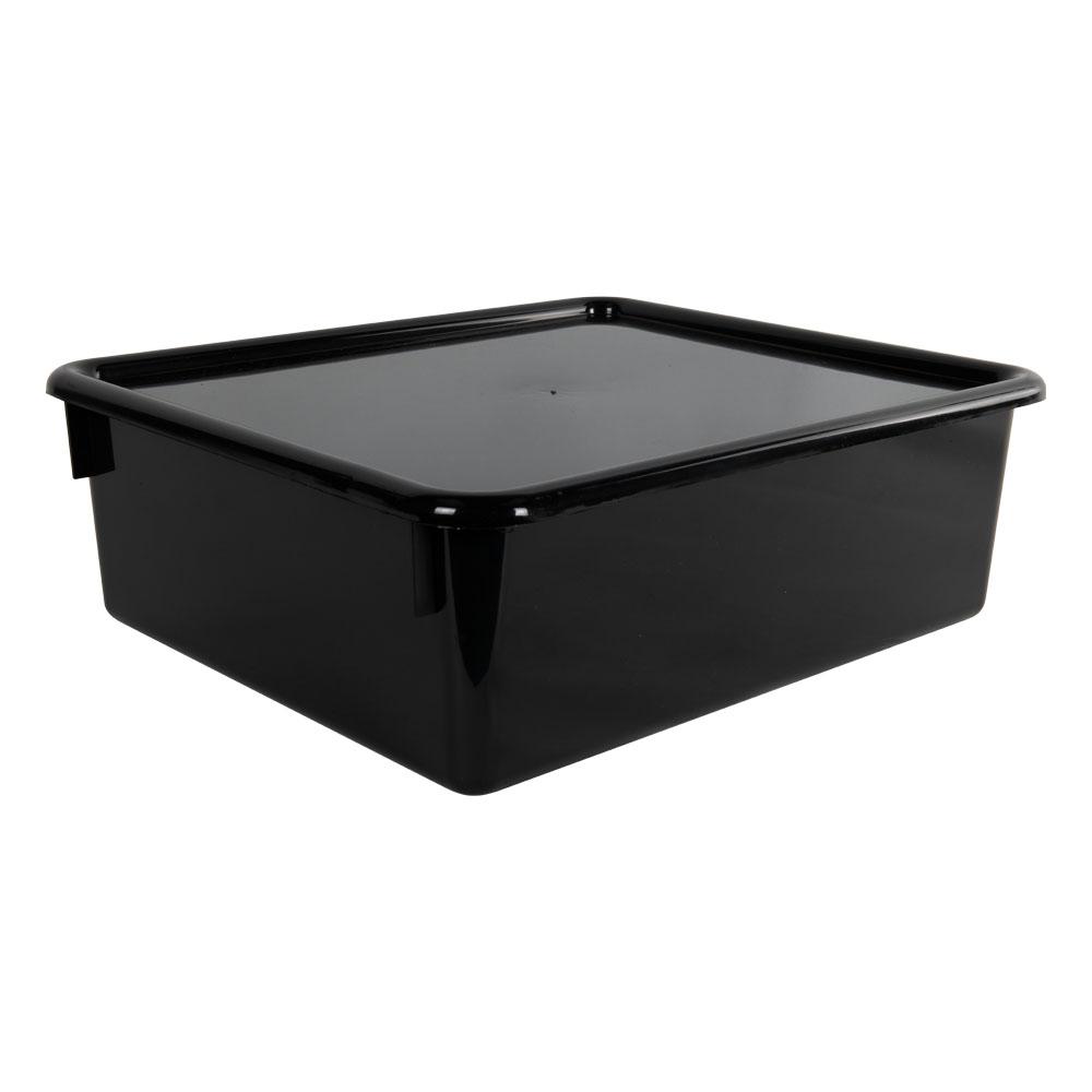 "Black Double Stowaway® Box with Lid - 13-1/2"" L x 16"" W x 5-1/2"" Hgt."