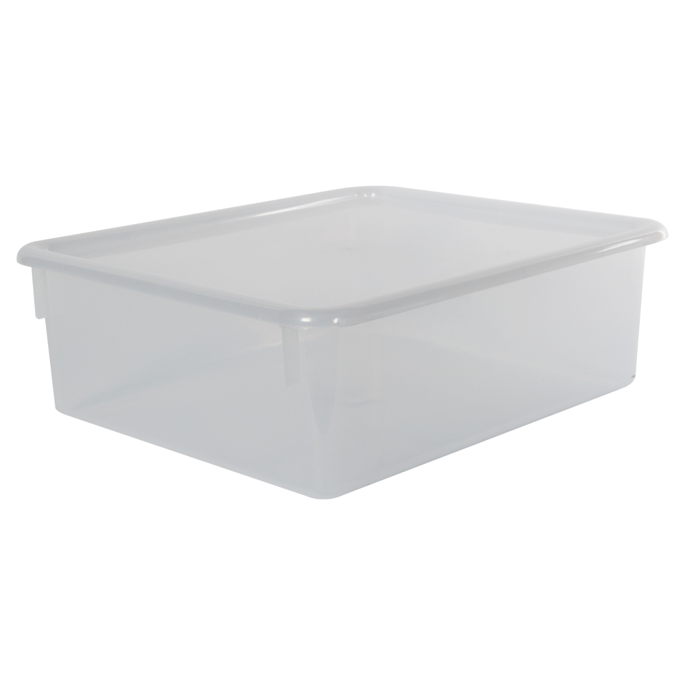 "Clear Double Stowaway® Box with Lid - 13-1/2"" L x 16"" W x 5-1/2"" H"
