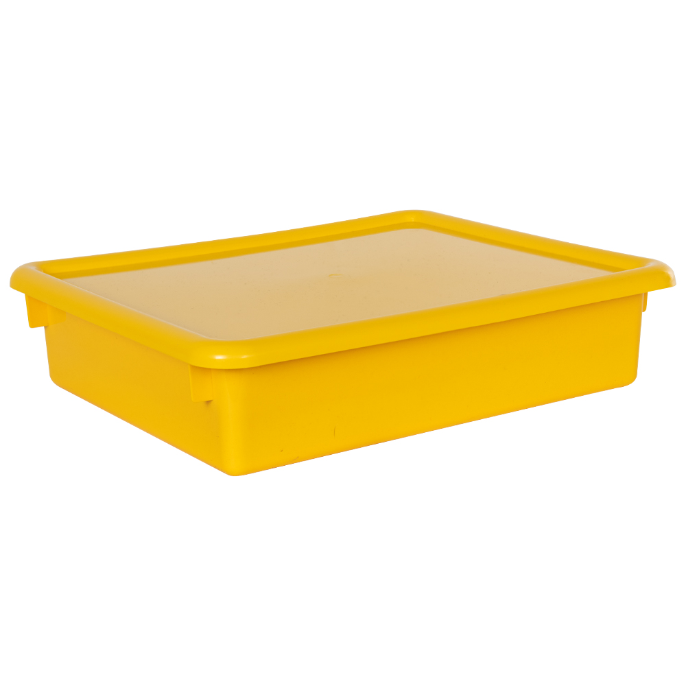 "Yellow Stowaway® Letter Box with Lid - 13-1/2"" L x 10-1/2"" W x 3"" H"