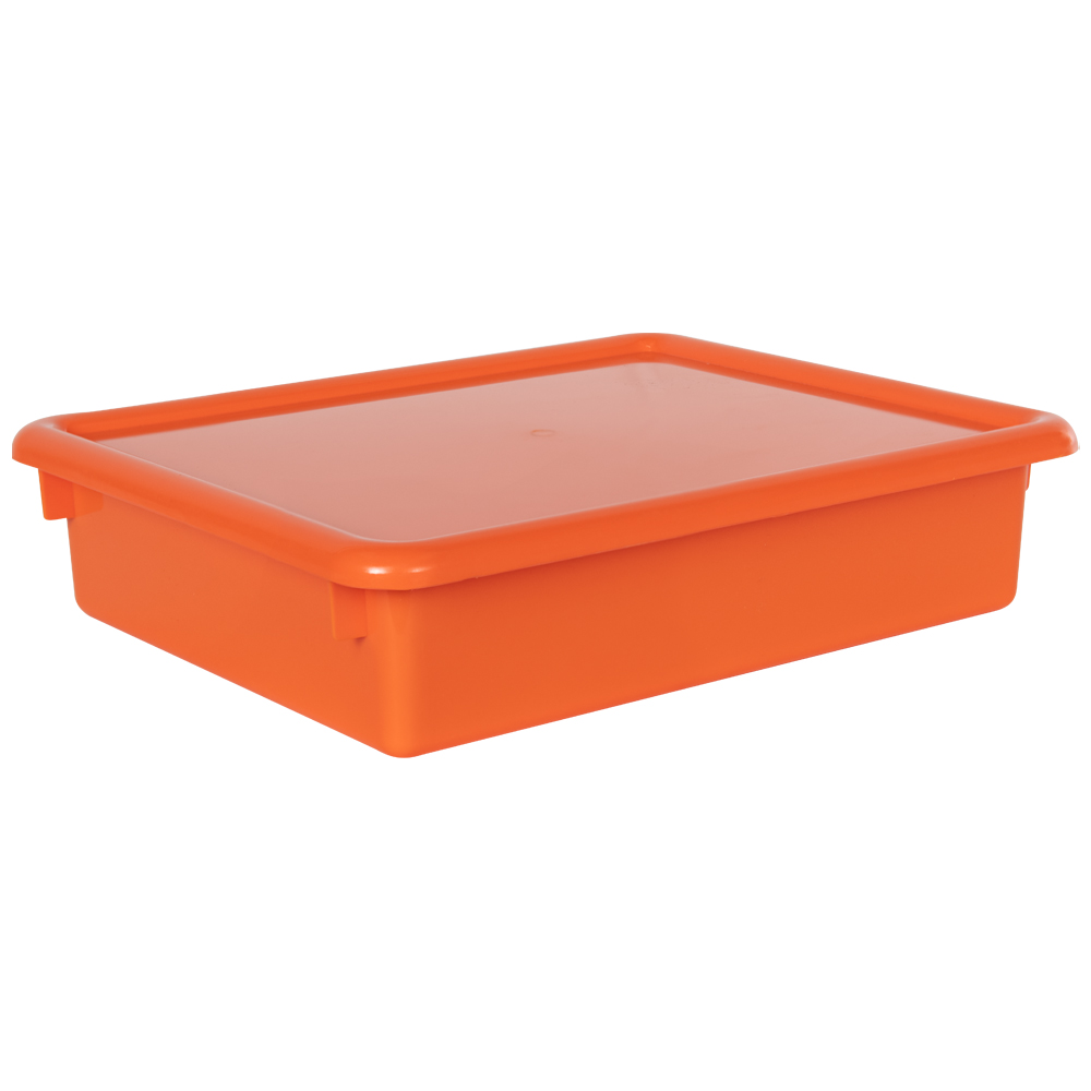 "Orange Stowaway® Letter Box with Lid - 13-1/2"" L x 10-1/2"" W x 3"" Hgt."
