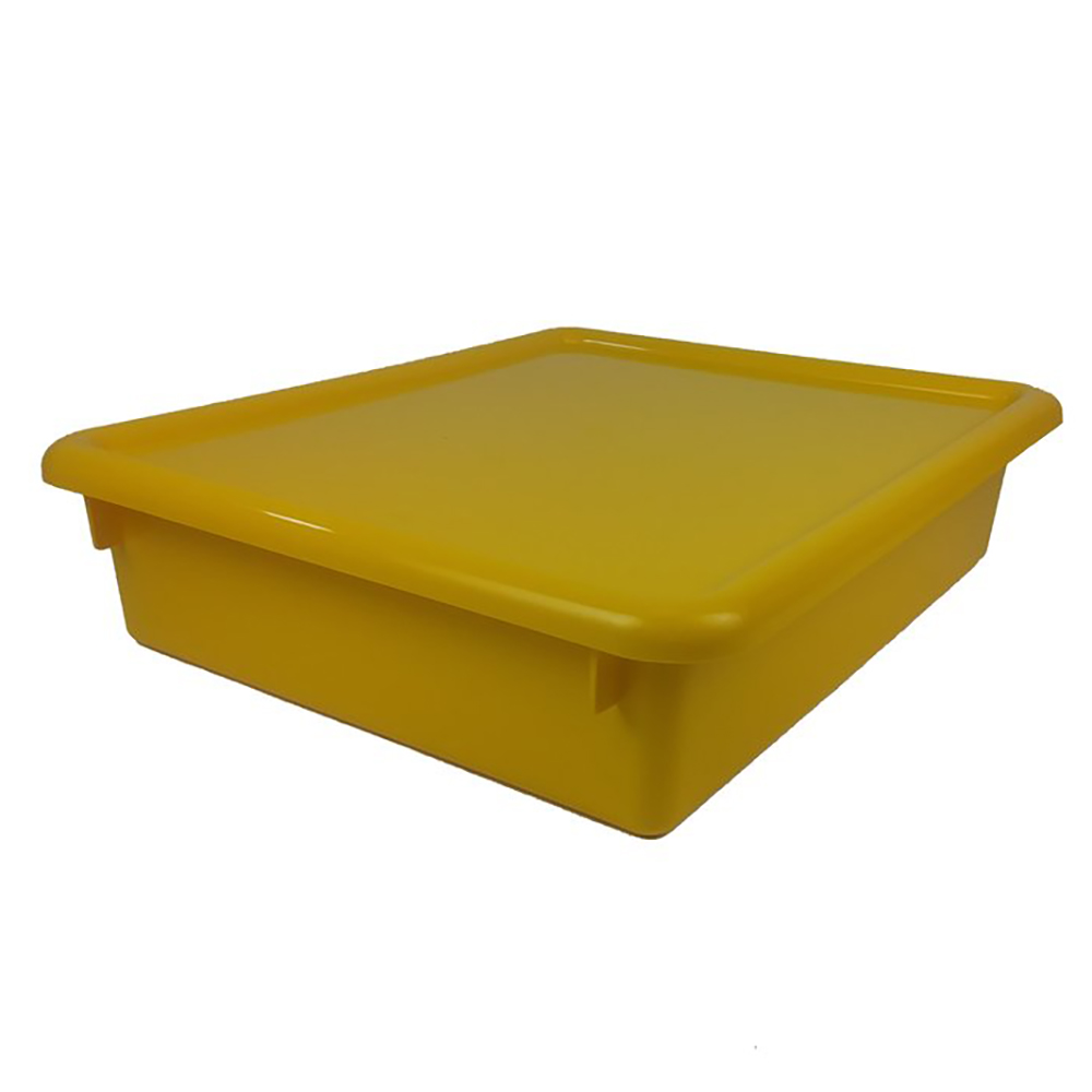 """Yellow Stowaway® Letter Box with Lid - 13-1/2"""" L x 10-1/2"""" W x 6"""" H"""