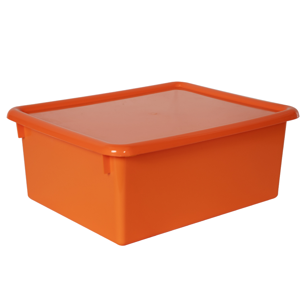 "Orange Stowaway® Letter Box with Lid - 13-1/2"" L x 10-1/2"" W x 6"" Hgt."