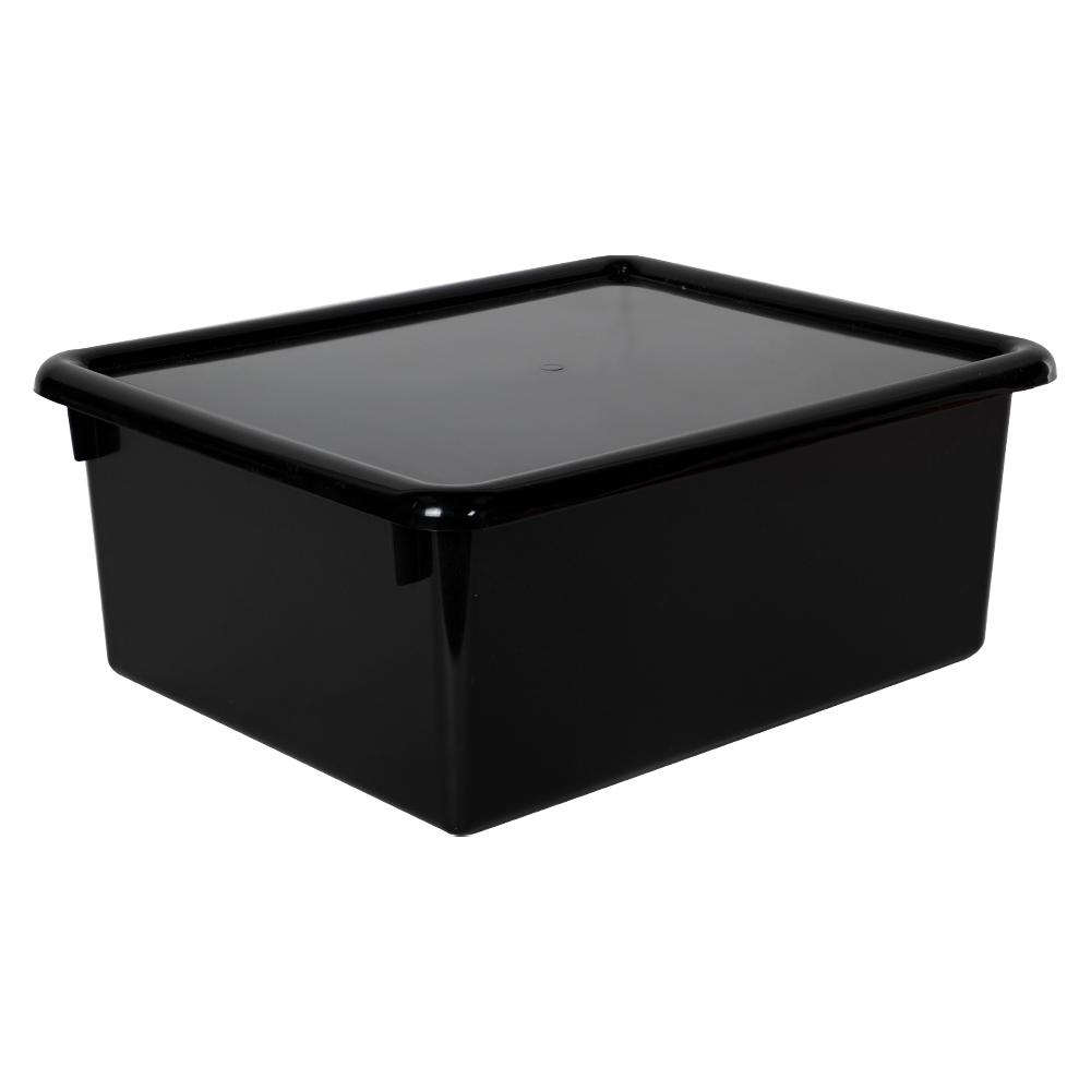 """Black Stowaway® Letter Box with Lid - 13-1/2"""" L x 10-1/2"""" W x 6"""" H"""