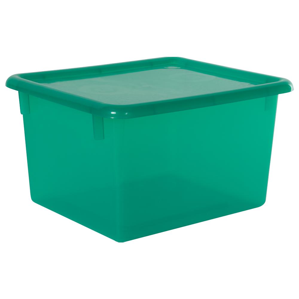 "Lime Small Stowaway® Shelf Box with Lid - 10-1/2"" L x 9"" W x 6"" Hgt."
