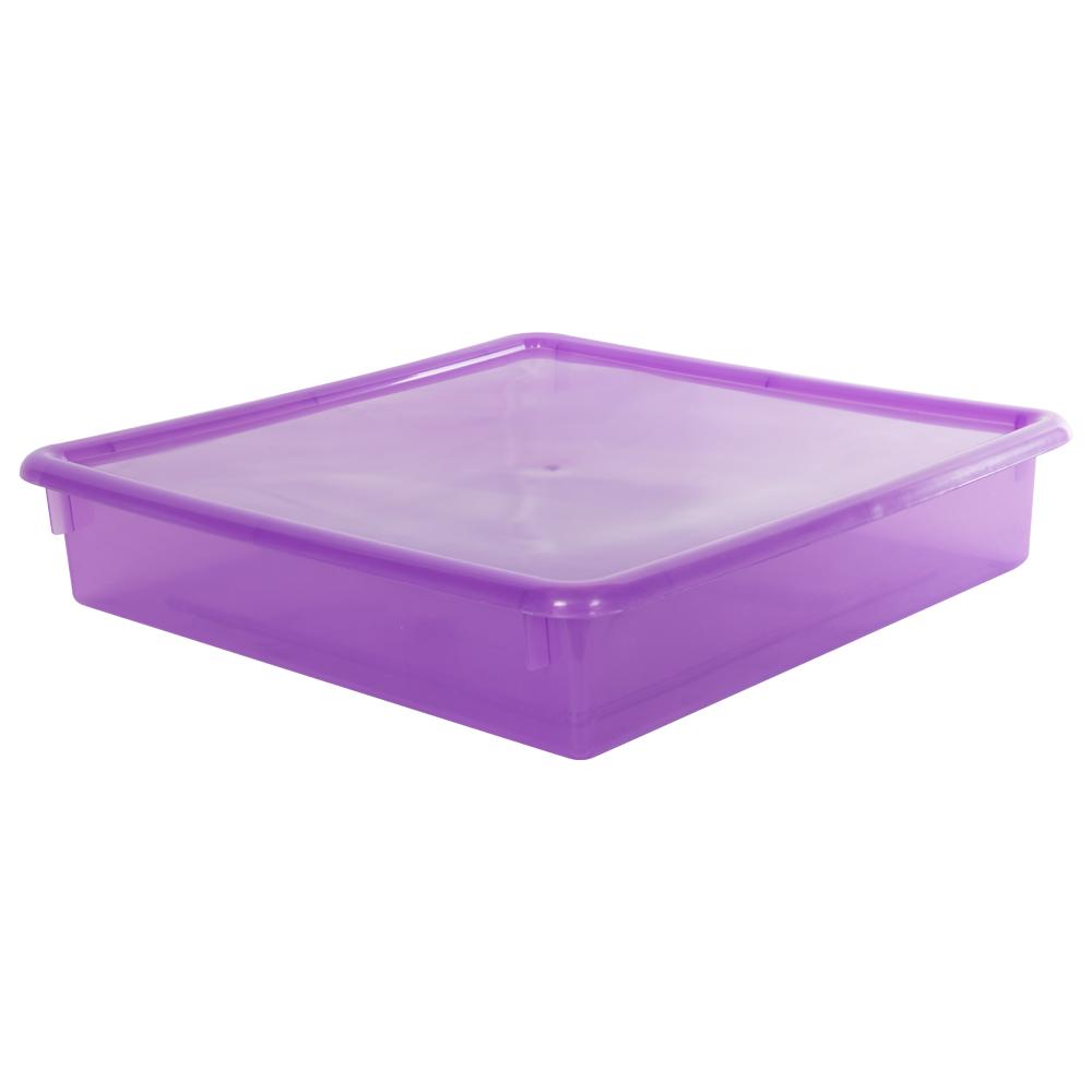 """Grape Stowaway® Scrap Box with Lid - 15"""" L x 15"""" W x 3"""" H"""