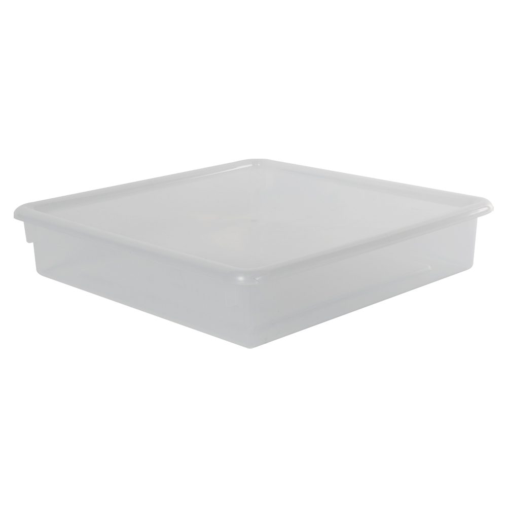 """Clear Stowaway® Scrap Box with Lid - 15"""" L x 15"""" W x 3"""" Hgt."""
