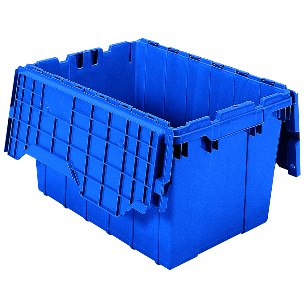 """Blue Akro-Mils® Attached Lid Container - 21-1/2"""" L x 15"""" W x 12-1/2"""" Hgt. OD"""