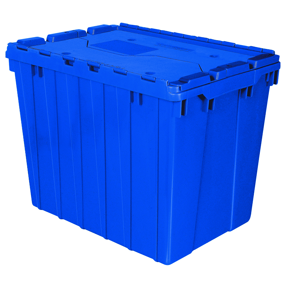"21-1/2"" L x 15"" W x 17"" H OD Blue Akro-Mils® Attached Lid Container"